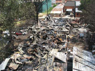 post-fire wreckage
