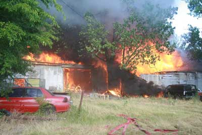 side view of structure when fully involved