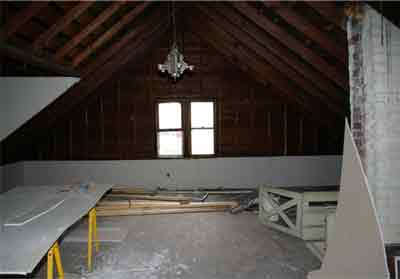 construction materials in attic room