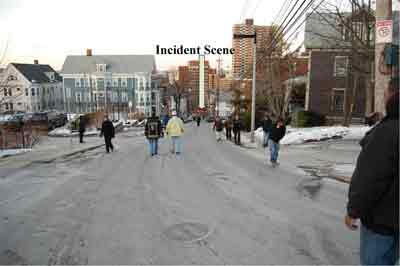 Down hill street and incident scene at the bottom