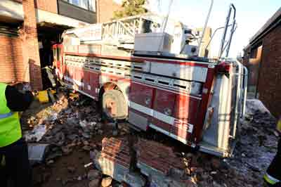 Fire truck after crashing into building