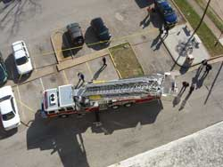 aerial view of aerial truck not square to building
