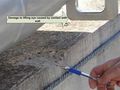 lifting eye and gouge in concrete wall
