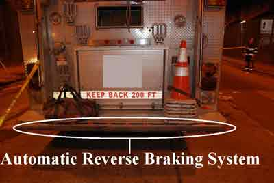automatic reverse braking system on a fire truck