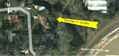 Bayou and wind direction from aerial view