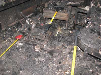 fire fighter tools marking location of Victim #1