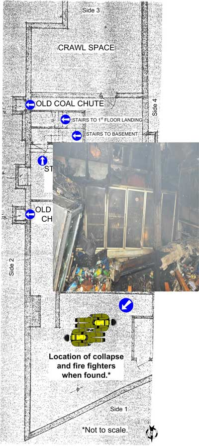 location of collapse and fire figthers