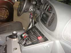 controls on the dash of the ambulance