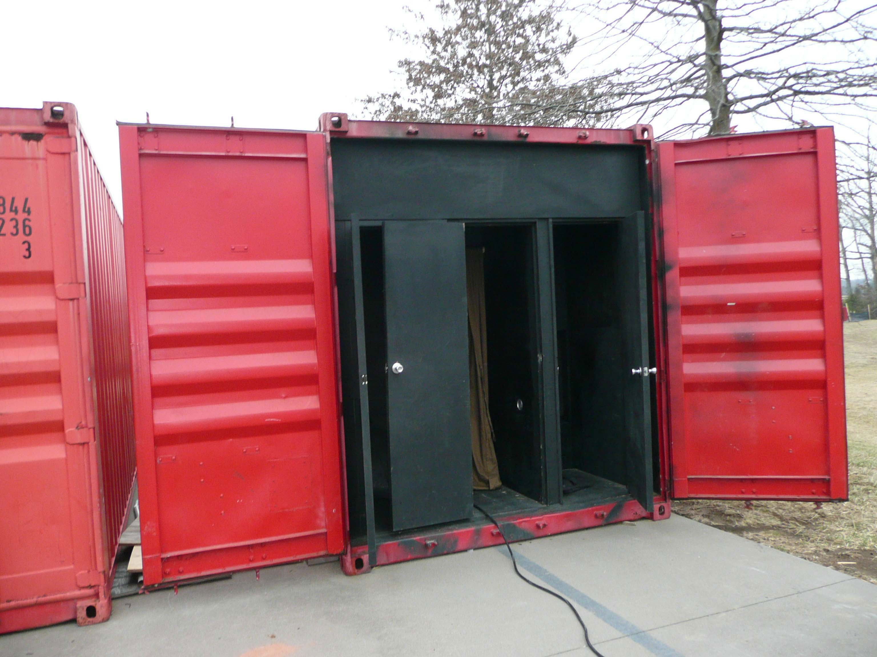 Maze practical drill trailer built inside a metal sea shipping container