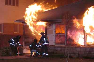 Flashover from burning house