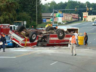 fire truck rolled over