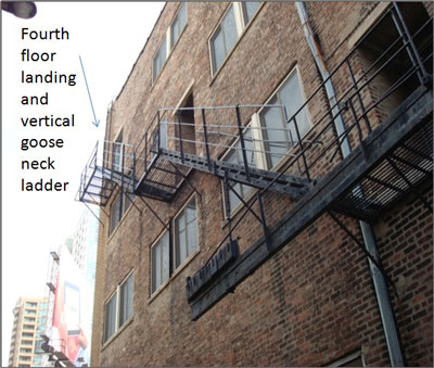 Exceptional Fourth Floor Landing And Vertical Goose Neck Ladder. Photo 2: The Exterior  Fire Escape