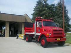 front view of surplus dump truck