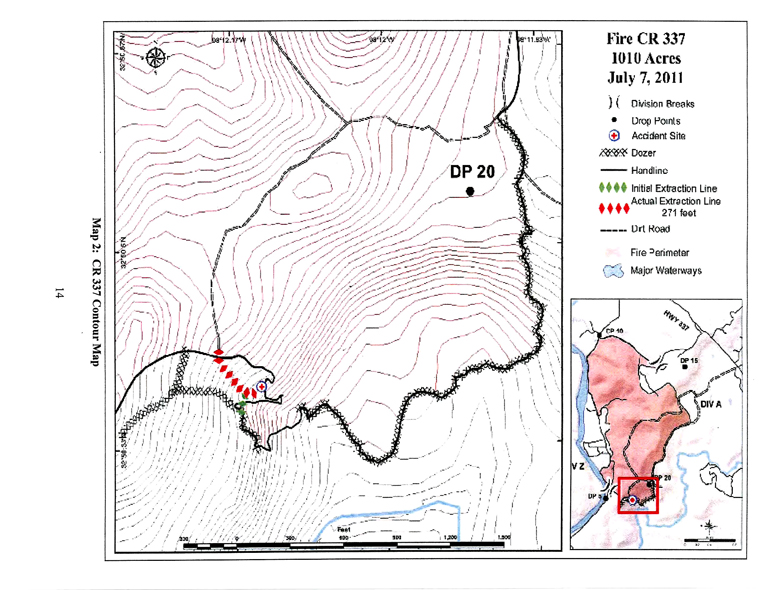 Topographic diagram of the Fire CR 337 with extraction line
