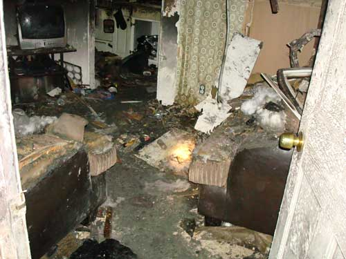 damage in living room