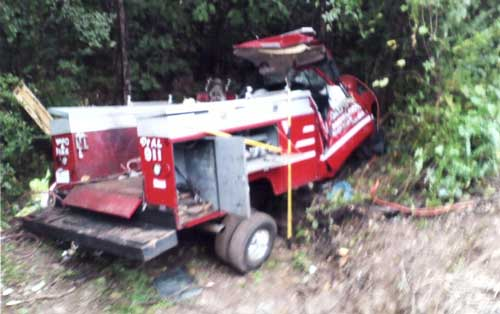 wrecked fire truck