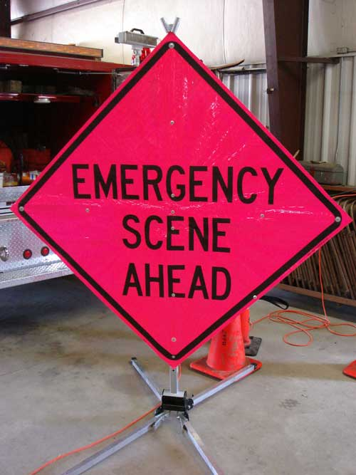 """Emergency Scene Ahead"" sign"