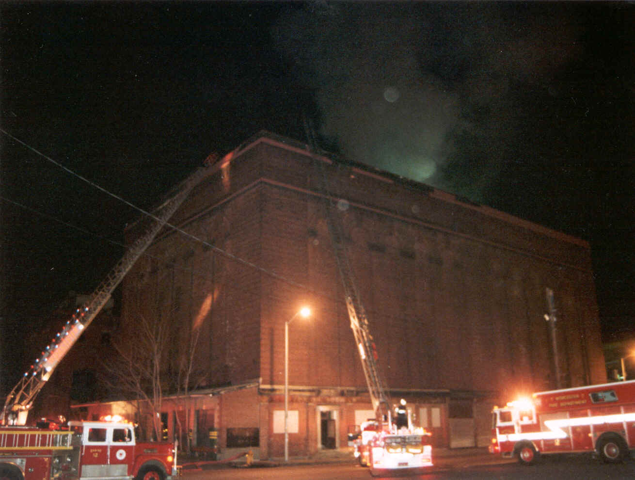 Cold-Storage and Warehouse Building Shortly After First Alarm - 1825 Hours