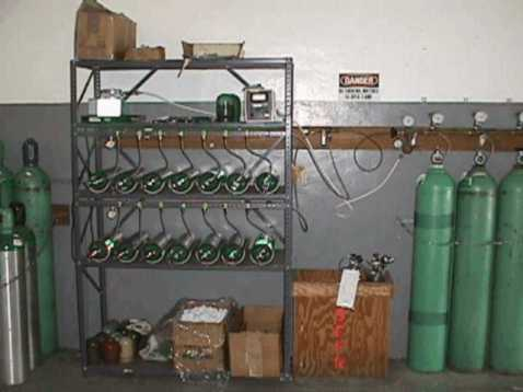 The cascade system at station 34 which is capable of refilling 14 D-size oxygen cylinders at a time.