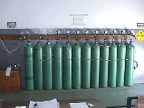 The cascade system used by the fire department to refill the oxygen cylinders.