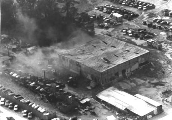 aerial view of the burning structure