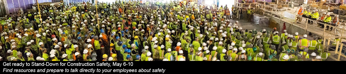 Large group of construction workers