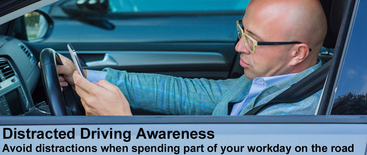 Distracted Driving Awareness Avoid distractions when spending part of your workday on the road, Man texting while driving
