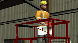 Aerial Lift Simulator.  Animated image of worker wearing hard hat and vest on aerial lift that has been extended to its highest capacity in a warehouse