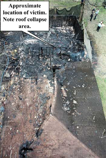 Photo 4. Aerial view of collapse zone.