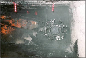 Continuous mining machine equipped with wet head technology.