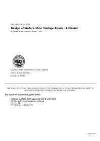 Cdc Mining Design Of Surface Mine Haulage Roads A Manual Niosh