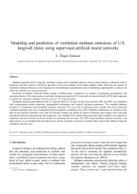 Image Of Publication Modeling And Prediction Of Ventilation Methane Emissions Of U S Longwall Mines Using Supervised