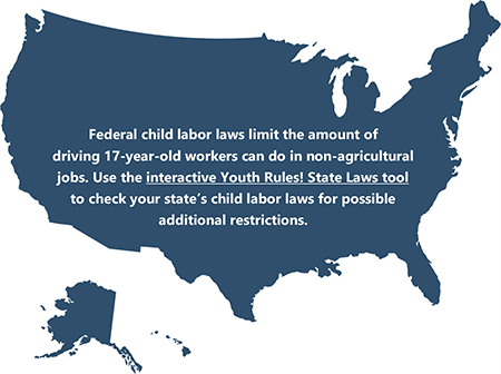 US map featuring link to interactive Youth Rules@ State Laws tool