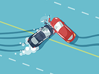 Vector of two car accident top view of vehicle collision on road
