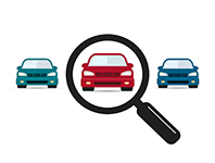 Magnifying glass with cars