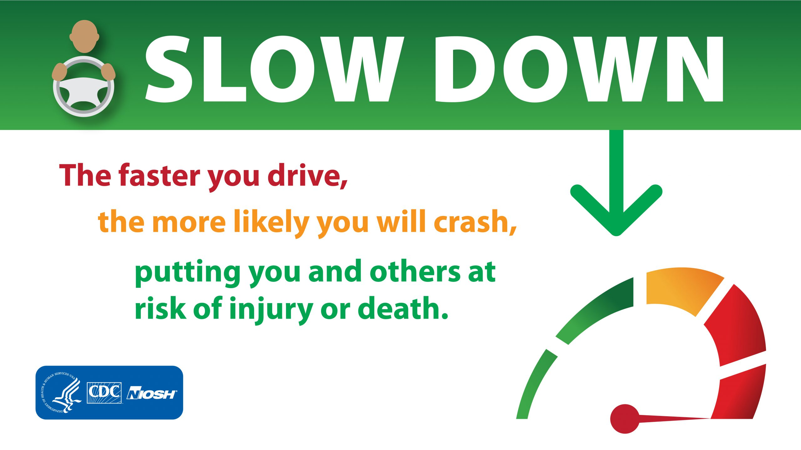 FaceBook graphic: Speeding - Slow Down
