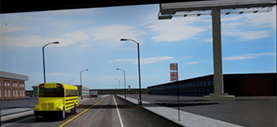screen view of the driving simulator