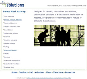 The home page for the Construction Solutions Database