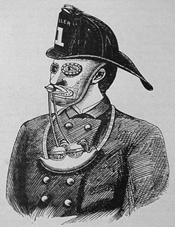Nealy Smoke Mask from The National Fireman's Journal December 8, 1877