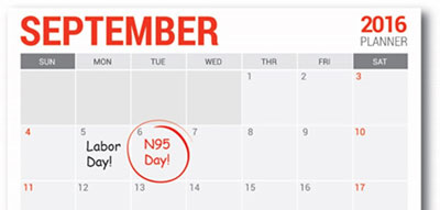 September 2016 calendar with N95 Day circled in red, September 6th.