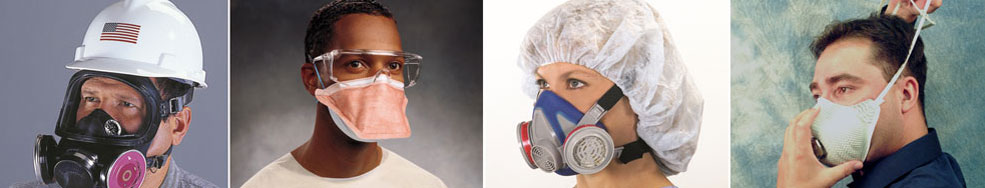 workers wearing filtering facepiece respirators