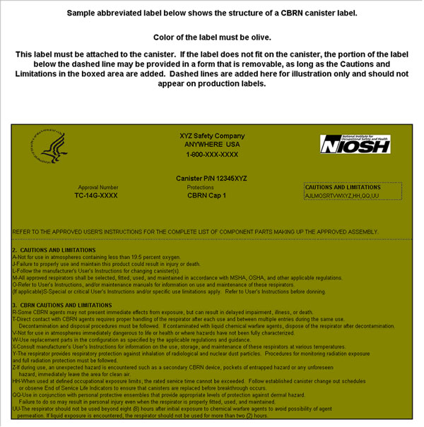 CDC - NIOSH NPPTL Sample APR full canister approval label