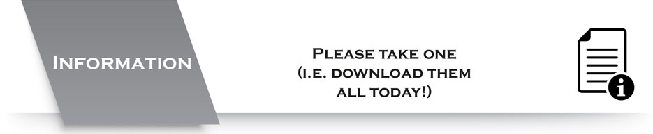 Information banner - Please take one (i.e. Download them all today!)