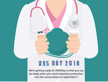Graphic of Nurse holding a clipboard. N95 Day 2018, We're getting ready for #N94Day so that you can be ready when you need respiratory protection. Join the conversation on September 5.