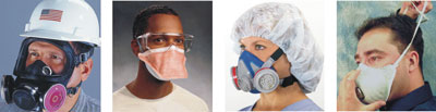 Workers wearing respiratory protection