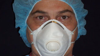 healthcare worker wearing N95 mask