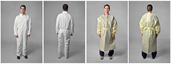 Figure 2: Examples of a typical coverall and an isolation gown.