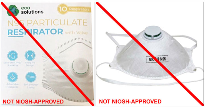 This is an example of a misrepresentation of a NIOSH-approved product. Products labeled as ECO Solutions NIOSH N95 are NOT NIOSH approved. (9/29/2020)