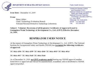 Screen shot of Respirator Users Notice