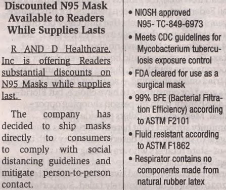 A misleading advertisement has appeared in newspapers. The product, advertised as NIOSH approved, is listed under an invalid NIOSH approval number. Additionally NIOSH has been notified by Guangzhou Harley Commodity Co., Ltd. that their model L-188 is being counterfeited. (8/5/2020)